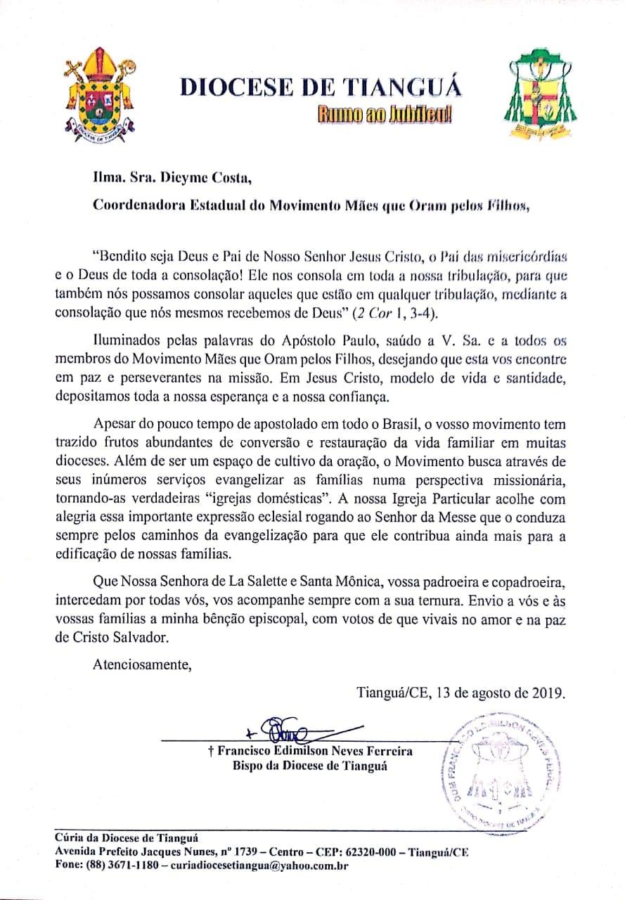 RECONHECIMENTO DO MOVIMENTO DE MÃES NA DIOCESE DE TIANGUÁ/CE